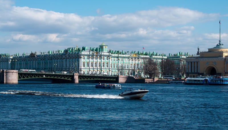 The Hermitage in St Petersburg. The Hermitage, now a museum of art, but originally one of Catherine The Great's many palaces in Saint Petrersburg Russia stock images