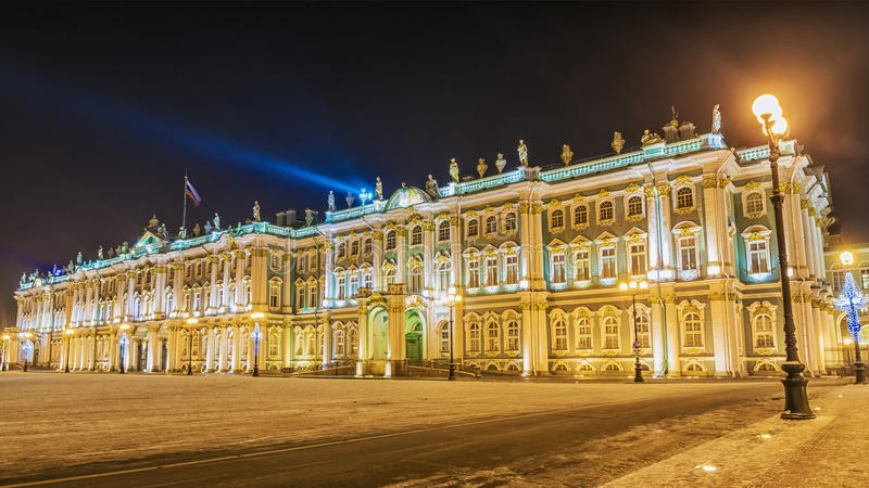 The Hermitage in St. Petersburg winter night view.  royalty free stock photo