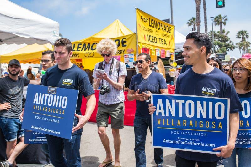 California Gubernatorial candidate Antonio Villaraigosa campaigning in Hermosa Beach, California. Hermosa Beach, Ca: 5/28/2018: California Gubernatorial stock photo
