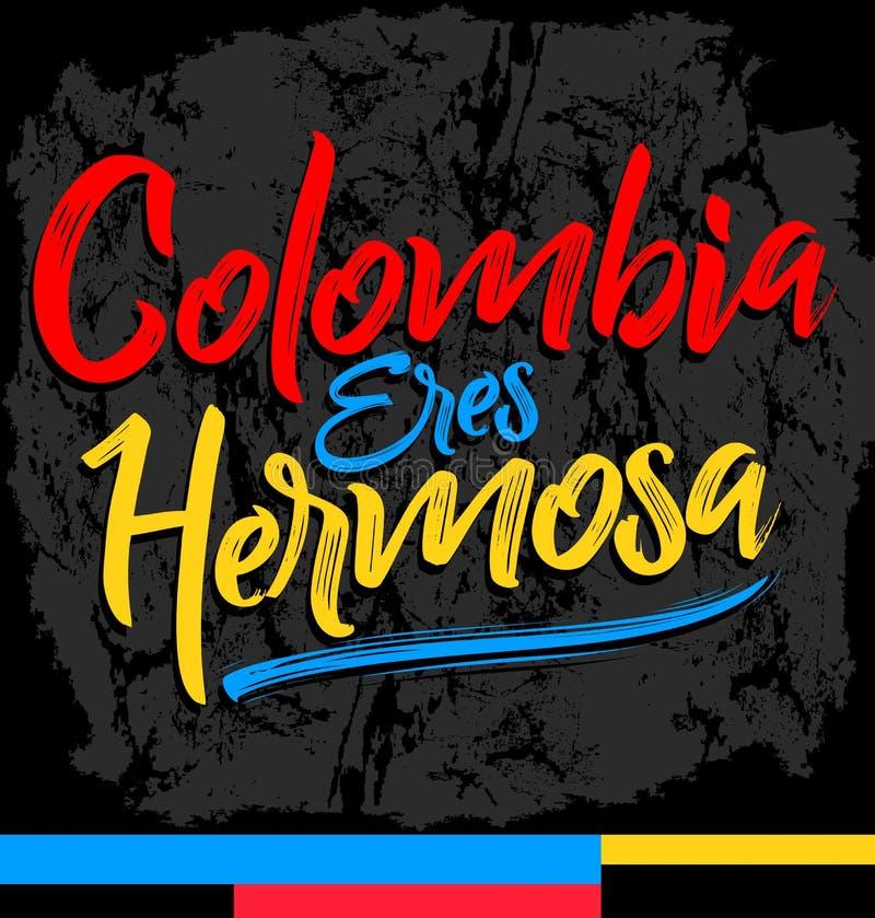 Hermosa dos eres de Colômbia, Colômbia você é texto espanhol bonito ilustração stock