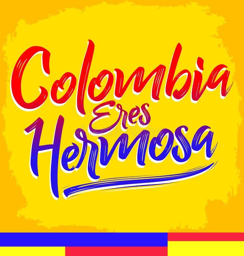 Hermosa dos eres de Colômbia, Colômbia você é texto espanhol bonito ilustração do vetor