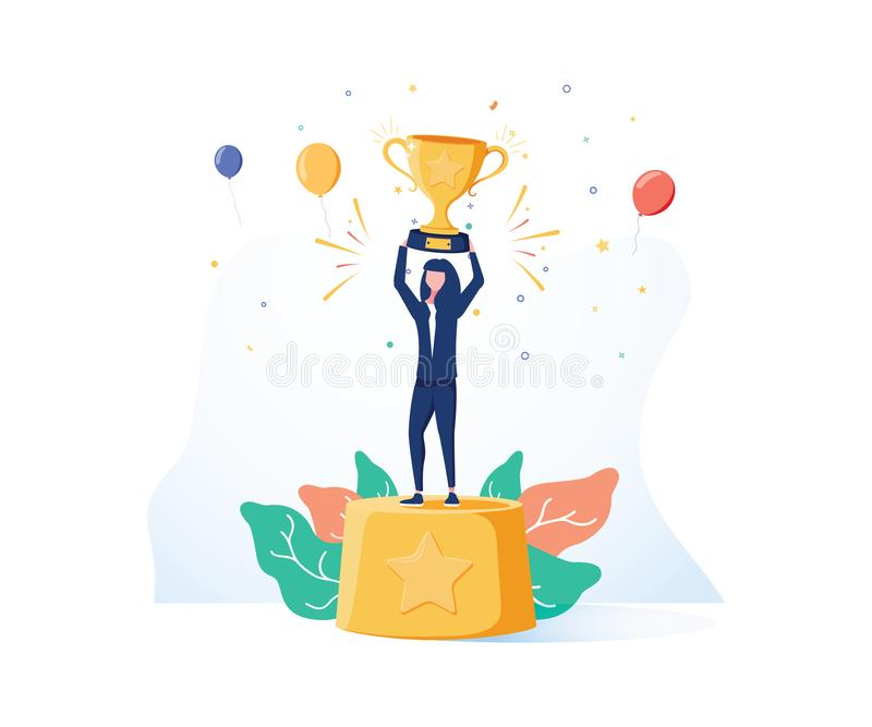 Hermosa mujer de negocios sonriente está parada en un pedestal con una copa de oro y confetti alrededor stock de ilustración
