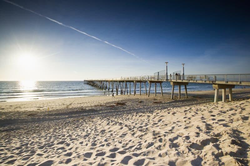 Hermosa Plażowy Mola Zmierzchu Depresji Przypływ obraz stock
