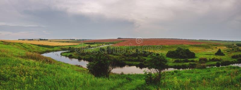 Hermosa vista de campos y de prados verdes foto de archivo libre de regalías