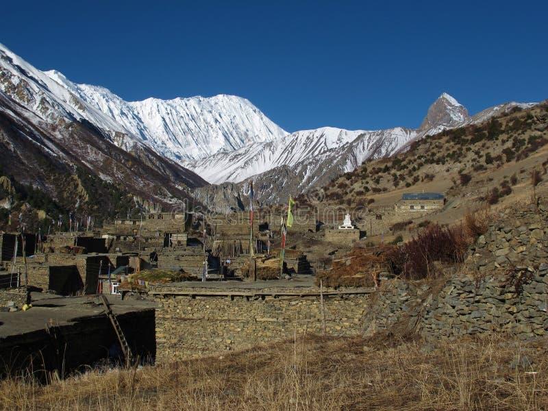 Hermosa vista de Khangsar imagen de archivo
