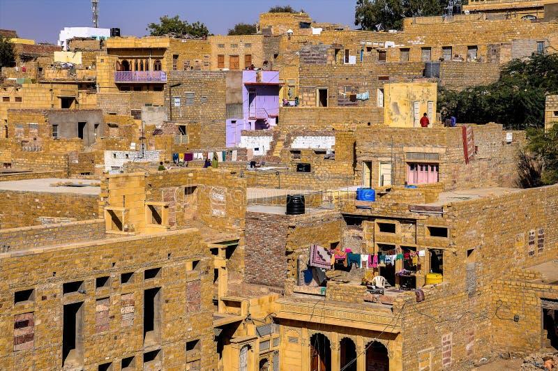 Hermosa vista de la ciudad de Jaisalmer en Rajasthán, la India del norte imagen de archivo