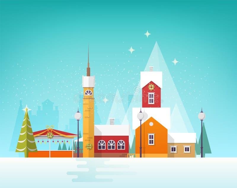 Hermosa vista de la ciudad o del pueblo del invierno en nevadas Paisaje urbano o paisaje Nevado con los edificios viejos y la tor stock de ilustración
