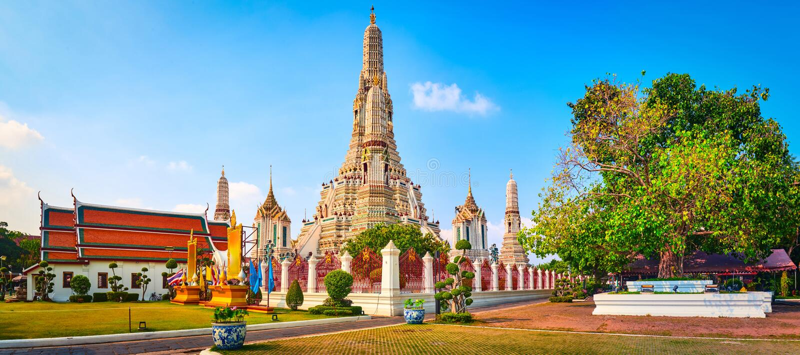 Hermosa vista de la guerra Arun Bangkok, Tailandia Panorama fotografía de archivo libre de regalías