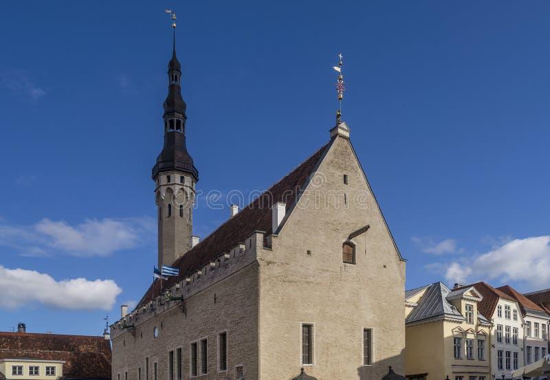 Hermosa vista de la iglesia del Espíritu Santo, Tallinn, Estonia en un día soleado imagenes de archivo