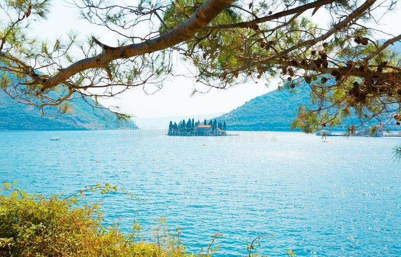 Hermosa vista de la isla de San Jorge, Montenegro fotografía de archivo libre de regalías