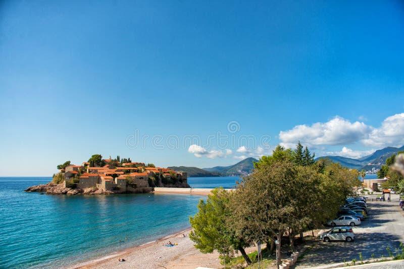 Hermosa vista de la isla de Sveti Stefan Budva, Montenegro imagen de archivo libre de regalías