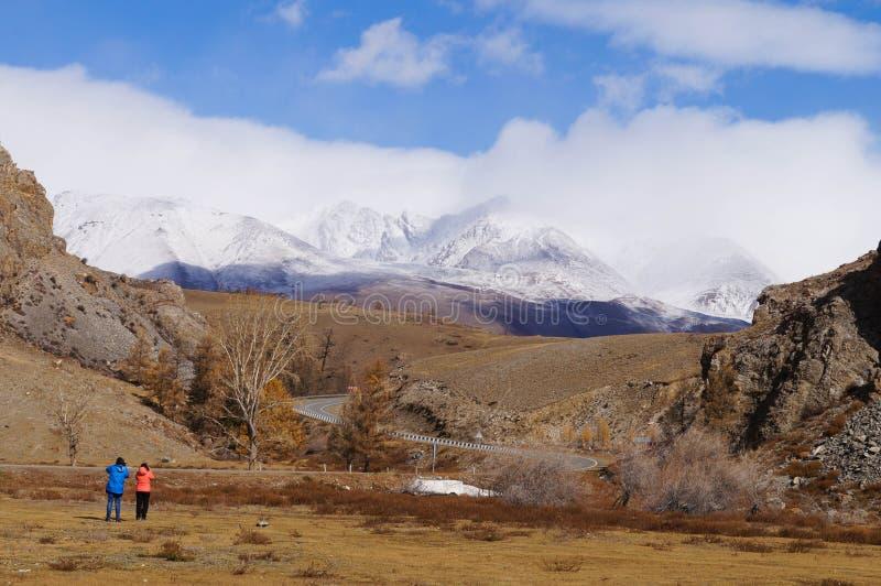 Hermosa vista de la montaña de Altai cerca del valle de Kurai, Altai, Rusia fotografía de archivo libre de regalías