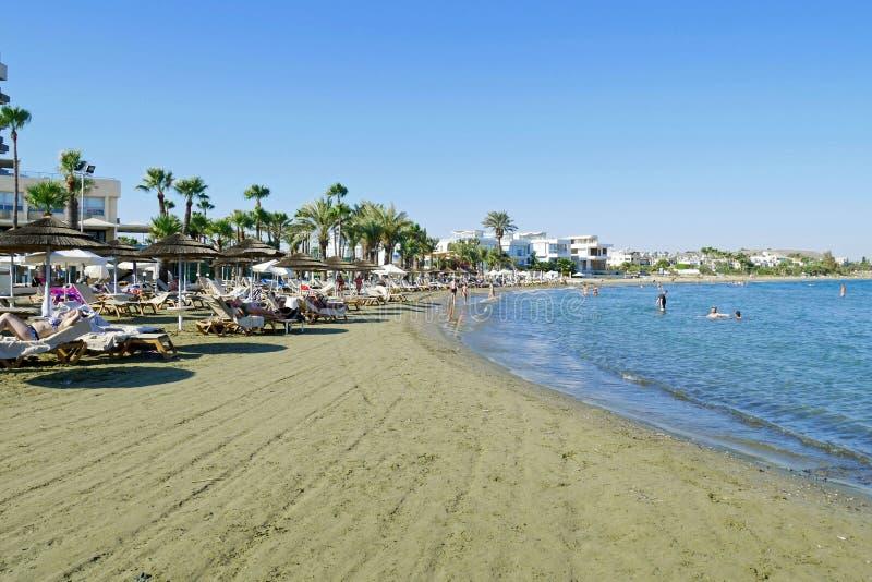 Hermosa vista de la playa de Larnaca, Chipre imagen de archivo