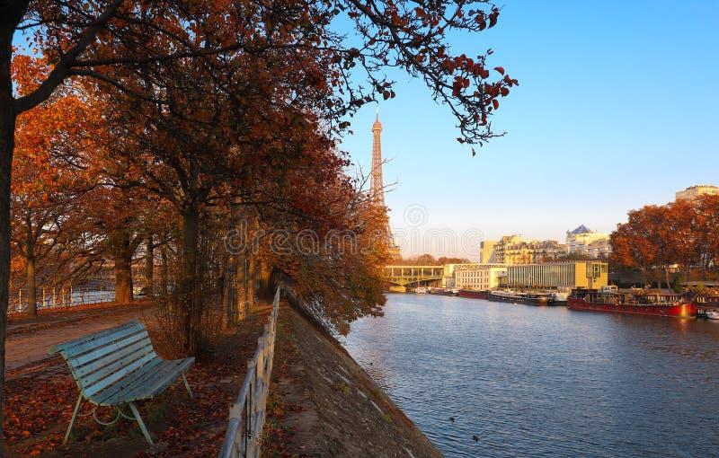 Hermosa vista de los árboles del otoño con la torre Eiffel en el fondo en París fotos de archivo