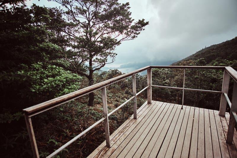 Hermosa vista de montañas y mar forestal lluvioso, o lago imagen de archivo libre de regalías