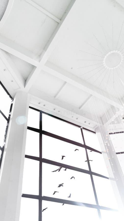 Hermosa vista de una ventana grande de un cuarto alto blanco de los pájaros que vuelan en el cielo stock de ilustración