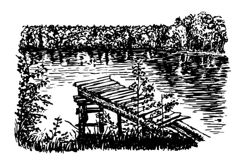 Hermosa vista del ejemplo claro del lago del bosque stock de ilustración