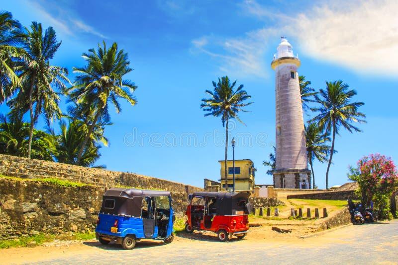 Hermosa vista del faro famoso en el fuerte Galle, Sri Lanka imagenes de archivo