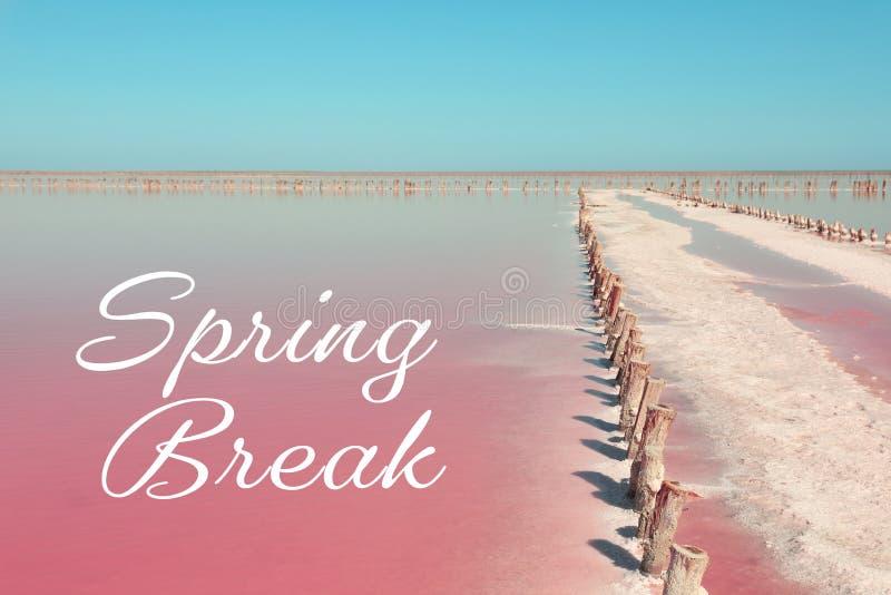 Hermosa vista del lago rosado imagenes de archivo