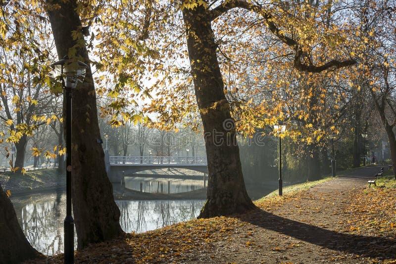 Hermosa vista del Maliesingel en Utrecht, los Países Bajos en luz del sol del otoño en una madrugada El Maliesingel usado a imagenes de archivo