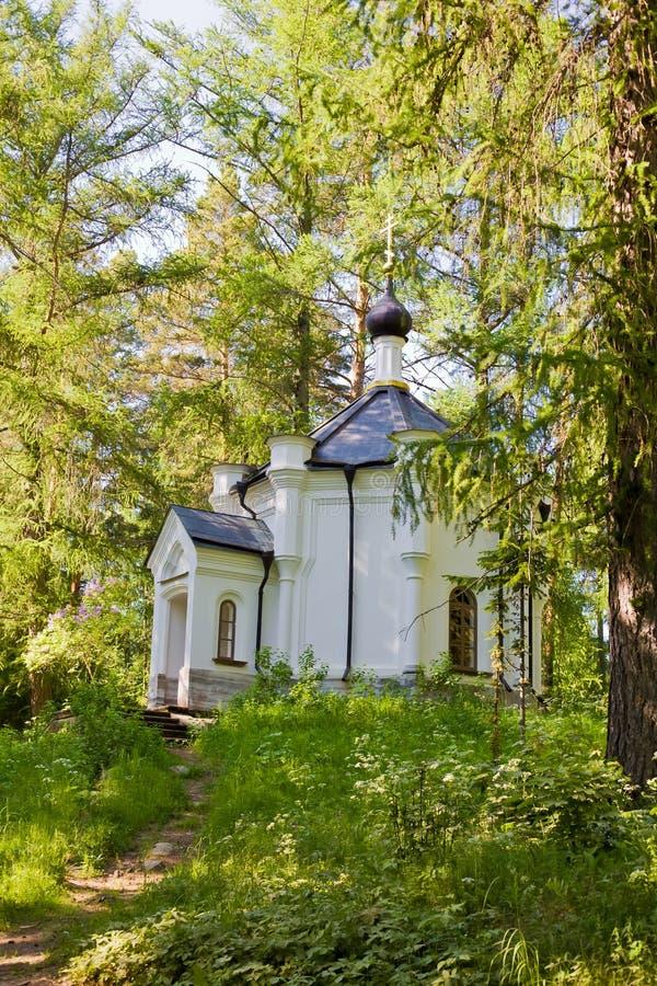 Hermosa vista del monasterio ortodoxo en la isla Valaam fotos de archivo
