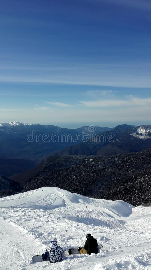 Hermosa vista desde arriba de la monta?a fotos de archivo