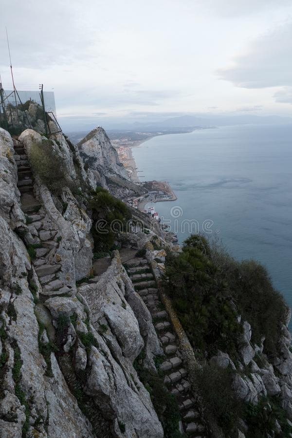 Hermosa vista desde arriba de la roca de Gibraltar imagen de archivo libre de regalías