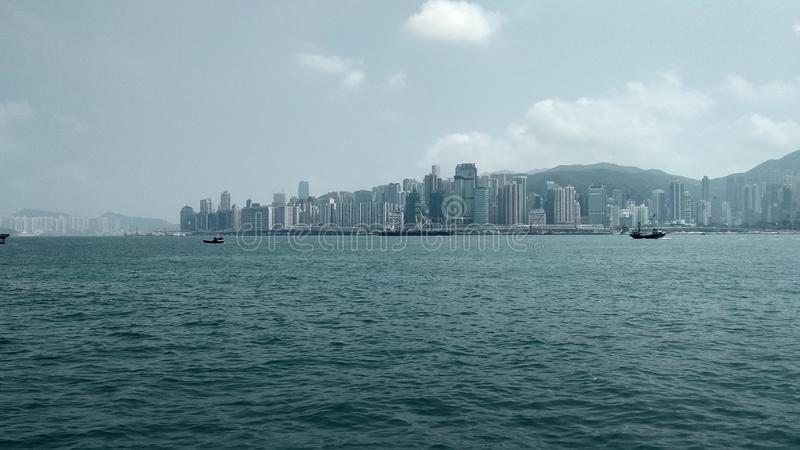 Hermosa vista a WanChai de Kowloon, Hong Kong imágenes de archivo libres de regalías