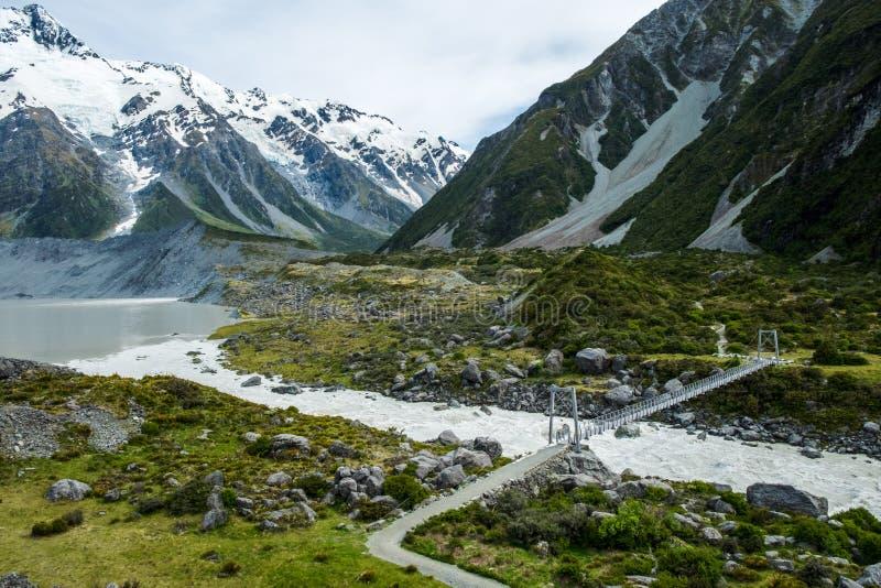 Hermosa vista y glaciar en el cocinero National Park del soporte foto de archivo