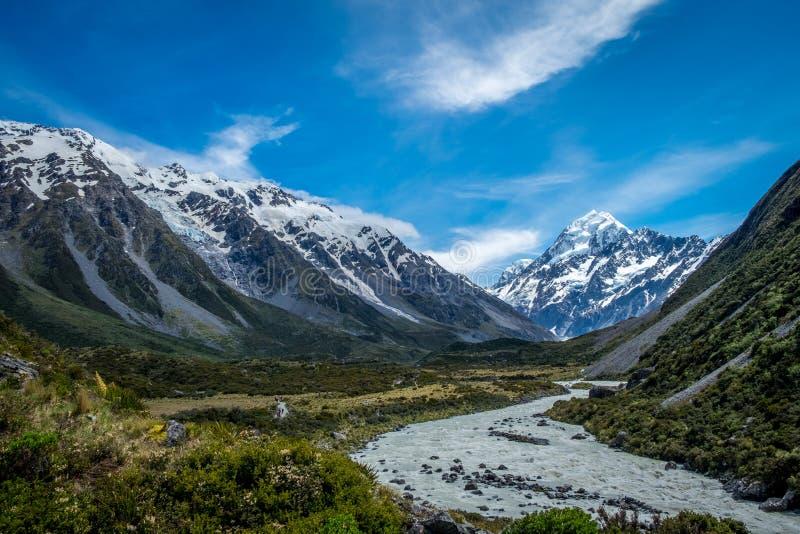 Hermosa vista y glaciar en el cocinero National Park del soporte fotos de archivo