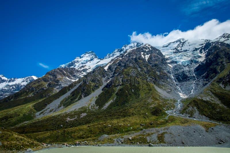 Hermosa vista y glaciar en el cocinero National Park del soporte imagen de archivo