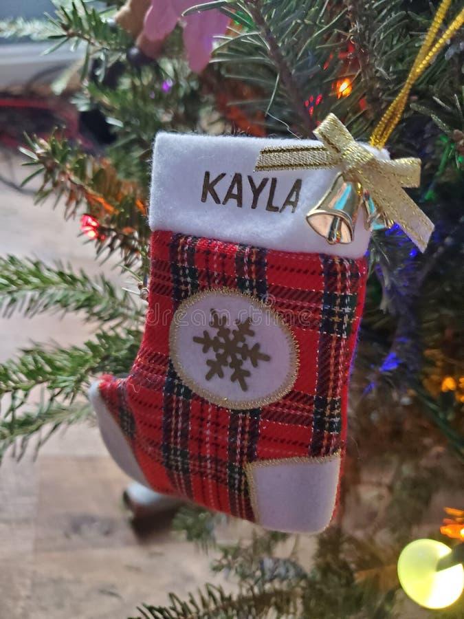 Hermosas fiestas de Navidad adornadas hoho santa decoraciones de árboles fotografía de archivo