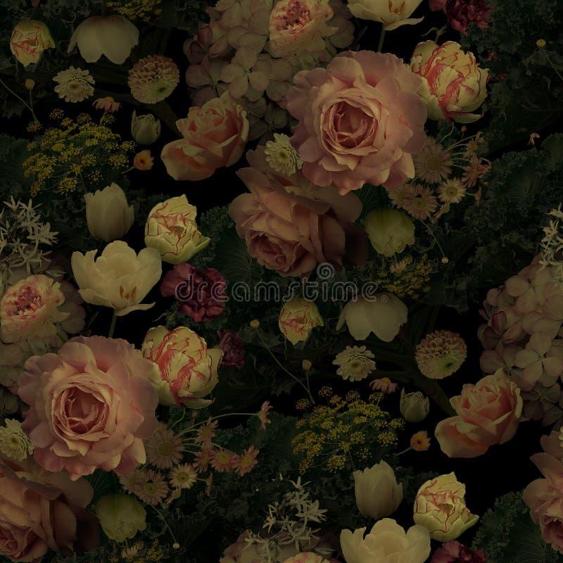 Hermosas rosas florecientes y flores de jardín Vintado floral, patrón transparente imagen de archivo