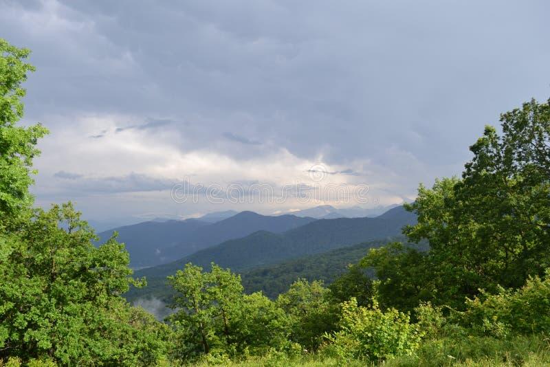 Hermosas vistas de las montañas cubiertas con el cielo combinado con verdor foto de archivo