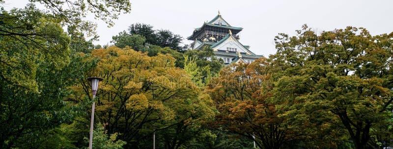 Hermoso de Osaka Castle en Osaka con las hojas de otoño, señal imagenes de archivo