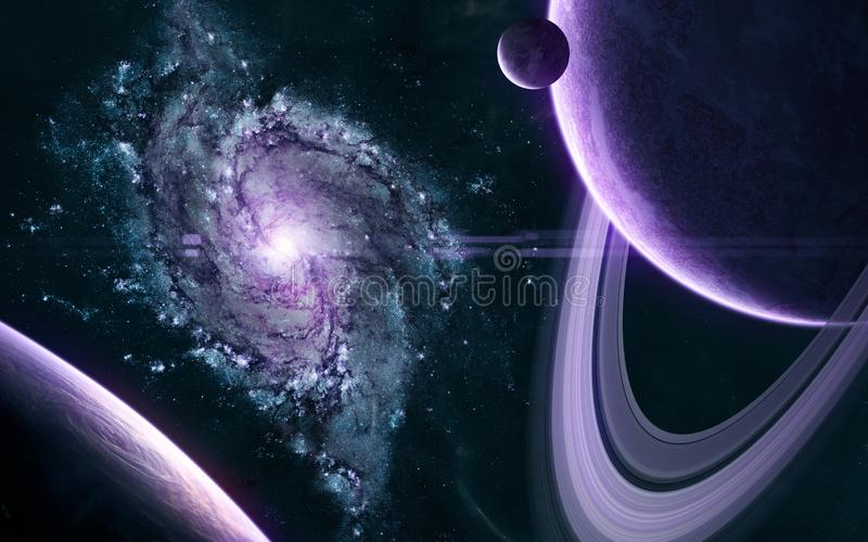 Hermoso paisaje cósmico Planetas a la luz púrpura de la galaxia en algún lugar del espacio profundo Ciencia ficción fotos de archivo libres de regalías