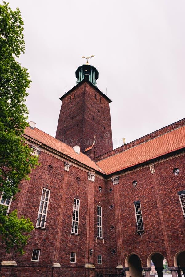 Hermoso y magnífico ayuntamiento Estocolmo foto de archivo