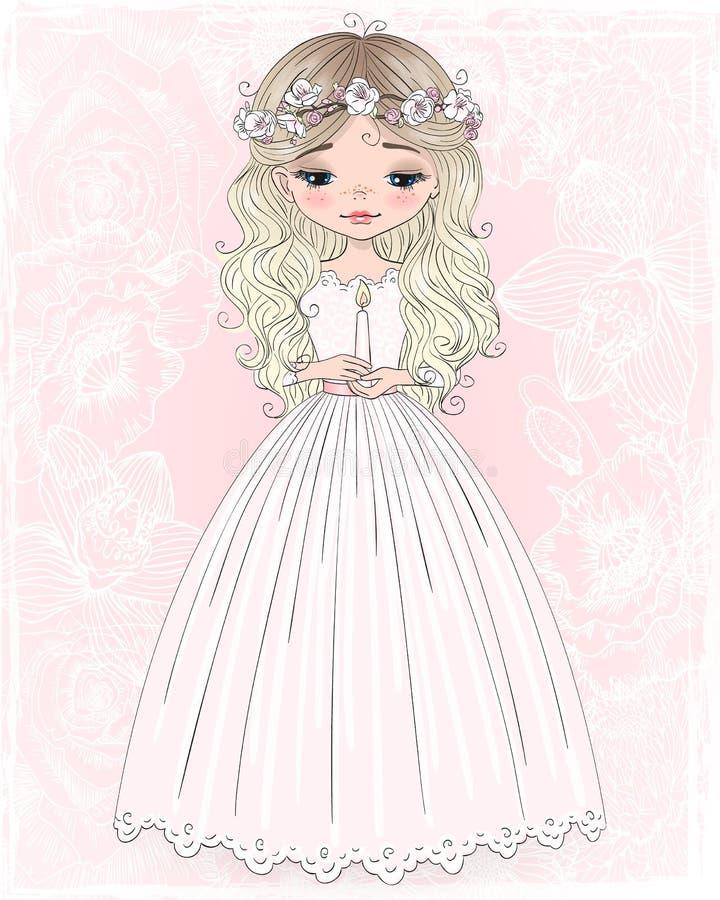Hermosos, lindos dibujada mano, niña con el vestido y flor enrruellan Ilustración del vector stock de ilustración