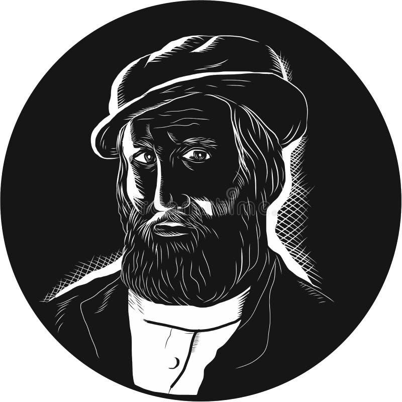 Hernan Cortes Conquistador Woodcut ilustração do vetor