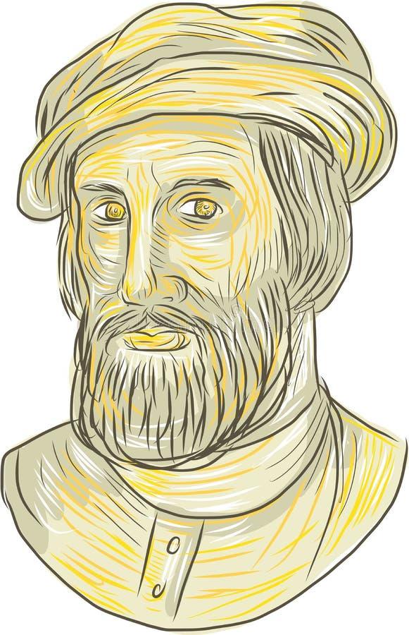 Hernan Cortes de Monroy Drawing ilustração do vetor