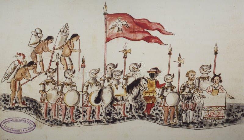 Hernan Cortes llega Tenochtitlan Códice Azcatitlan fotografía de archivo