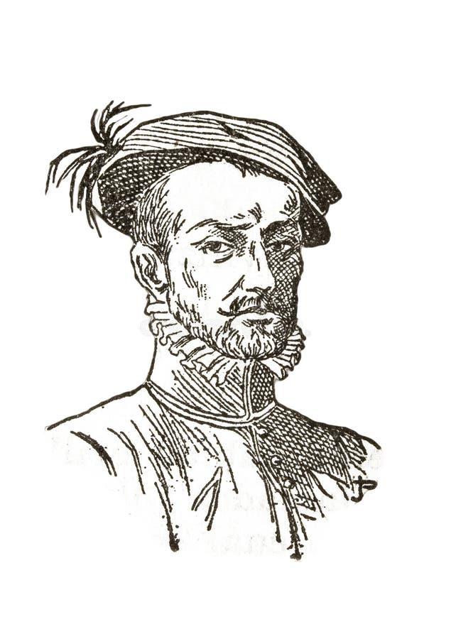 Hernan Cortes-portret stock afbeeldingen