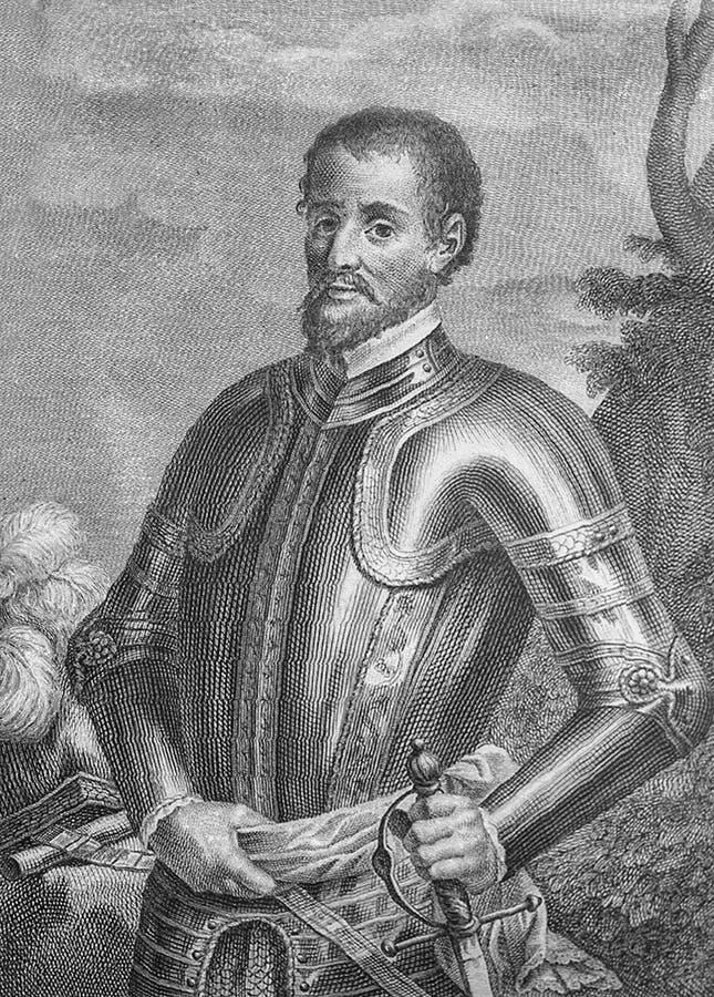 Hernando de Soto ισπανικό πορτρέτο conquistador, πρώτο διασταύρωση το ποτάμι Μισισιπή στοκ εικόνες