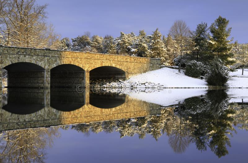 Herndon弗吉尼亚石头桥梁冬天场面 库存图片