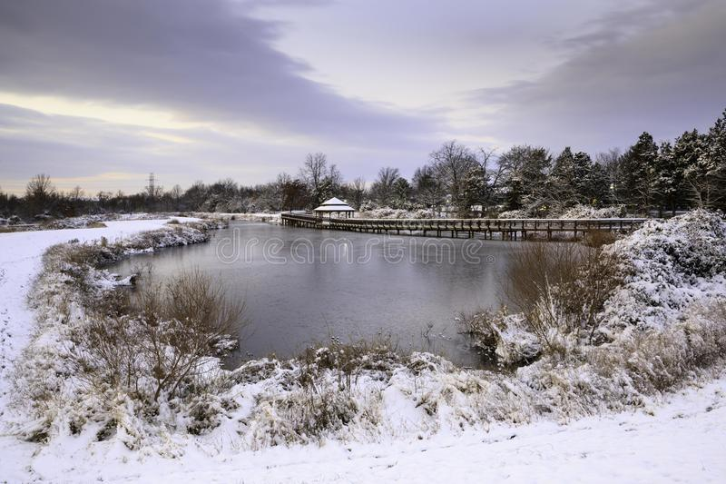 Herndon Virginia Arrowbrook Park Snow Day photos stock