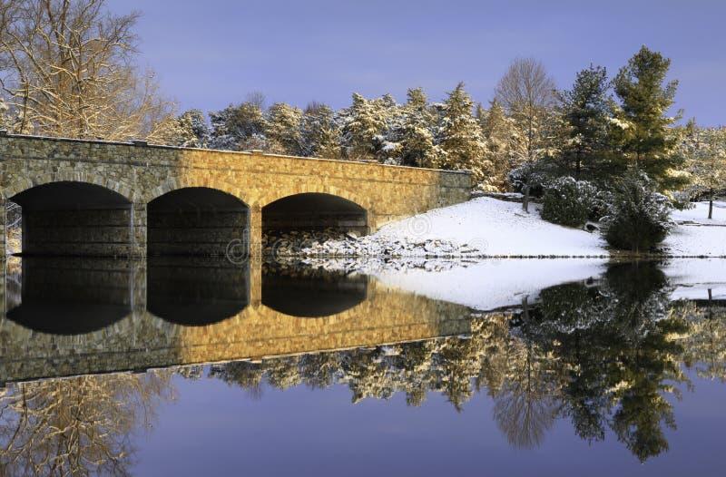 Herndon Virginia Stone Bridge Winter Scene stockbilder