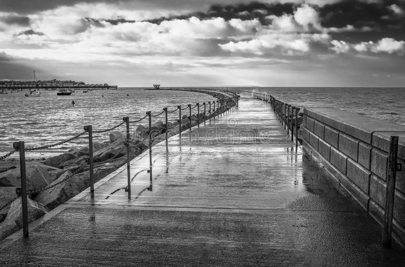 Herne Bay breakwater black and white image stock image