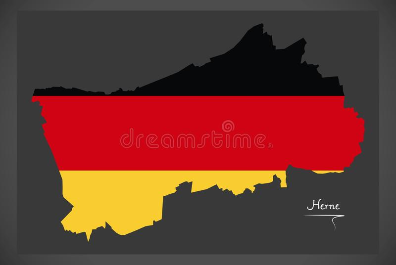 Herne Map With German National Flag Illustration Stock Illustration