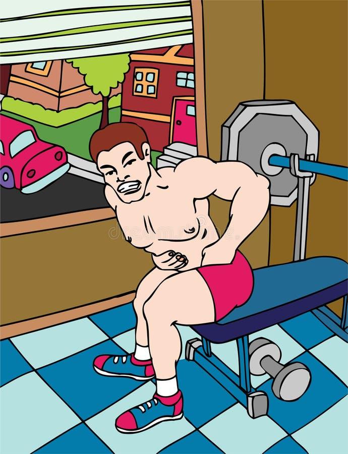 Hernia. Man injured while lifting weights stock illustration