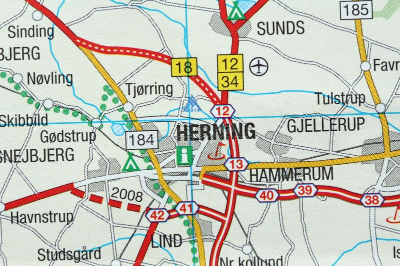 Herning. Kongeriget Danmark. A paper map and roads on the map royalty free stock photos